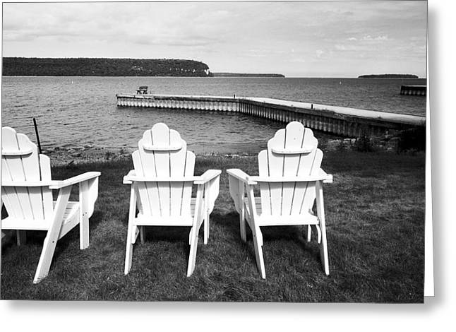 Adirondack Chairs And Water View At Ephriam Greeting Card by Stephen Mack