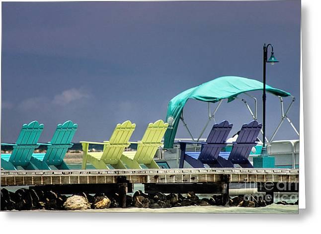 Adirondack Chairs At Coyaba Mahoe Bay Jamaica. Greeting Card by John Edwards
