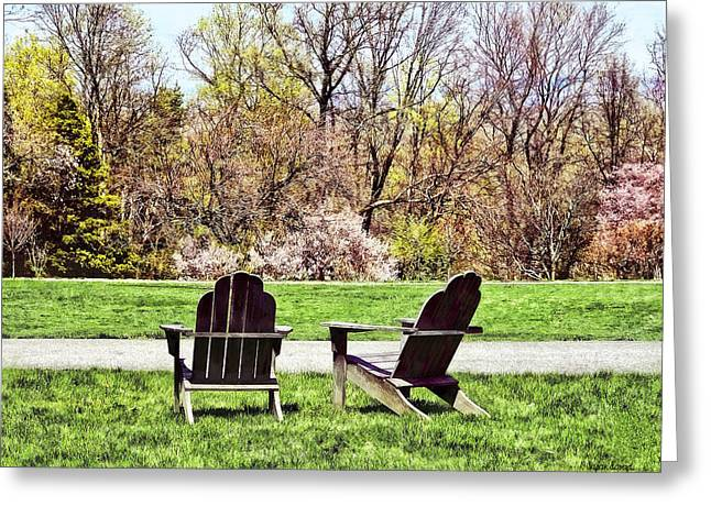 Adirondack Chairs In Spring Greeting Card by Susan Savad