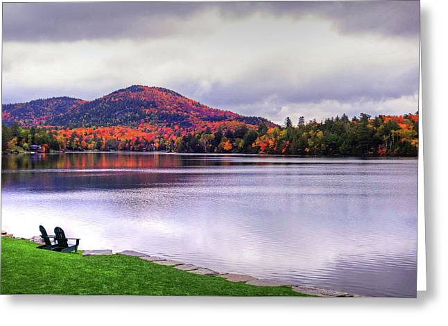 Adirondack Chairs In The Adirondacks. Mirror Lake Lake Placid Ny New York Mountain Greeting Card