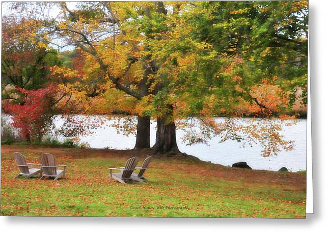 Adirondack Chairs Greeting Card by Nancy Wilt
