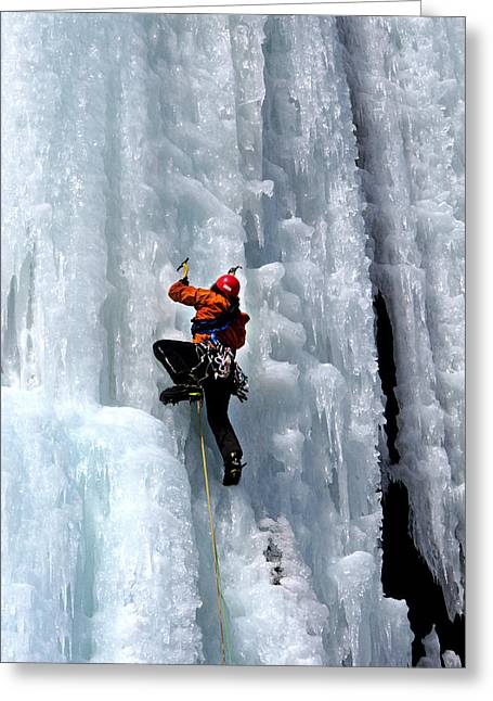 Adirondack Ice Climber  Greeting Card by Brendan Reals