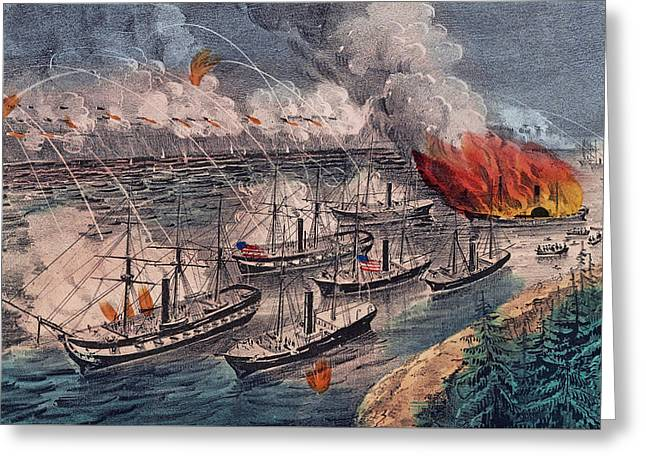 Admiral Farragut's Fleet Engaging The Rebel Batteries At Port Hudson Greeting Card by American School