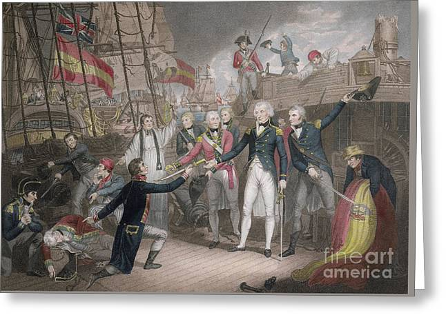 Admiral Nelson's Boarding The Two Spanish Ships, 14th February 1797 Greeting Card