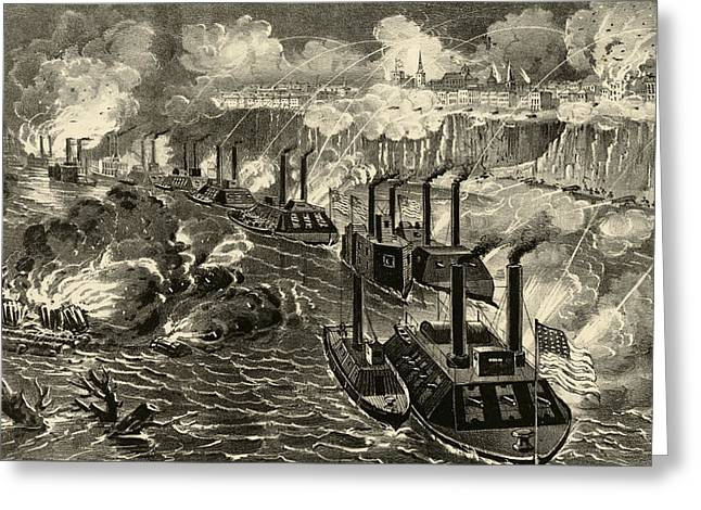 Admiral Porter's Fleet Running The Rebel Blockade Of The Mississippi At Vicksburg Greeting Card by American School