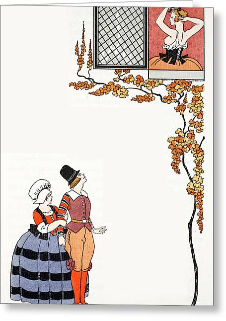 Admiration From Afar Greeting Card by Georges Barbier