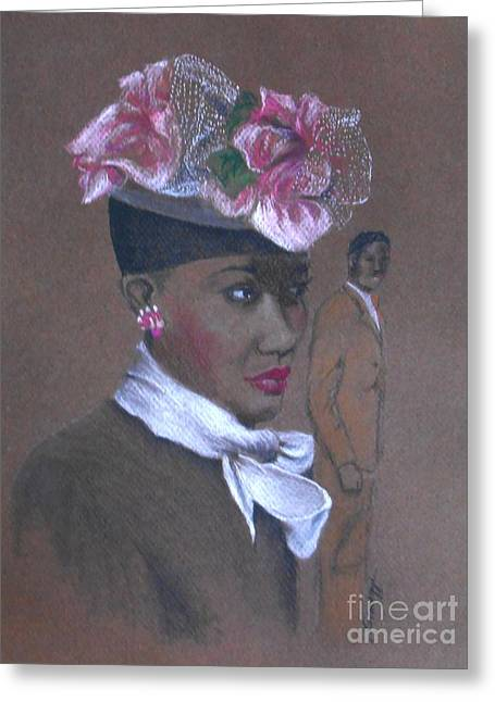 Admirer, 1947 Easter Bonnet -- The Original -- Retro Portrait Of African-american Woman Greeting Card