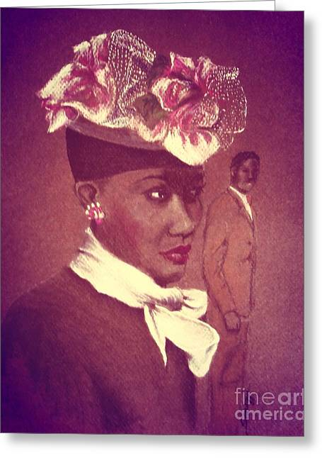 Admirer, 1947 Easter Bonnet With Orchid Glow Greeting Card by Jayne Somogy