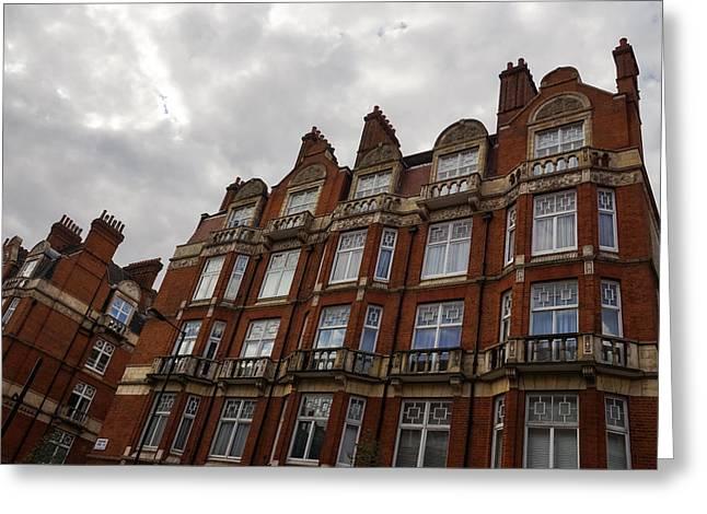 Admiring London Victorian Architecture - Montagu Mansions Marylebone Greeting Card by Georgia Mizuleva