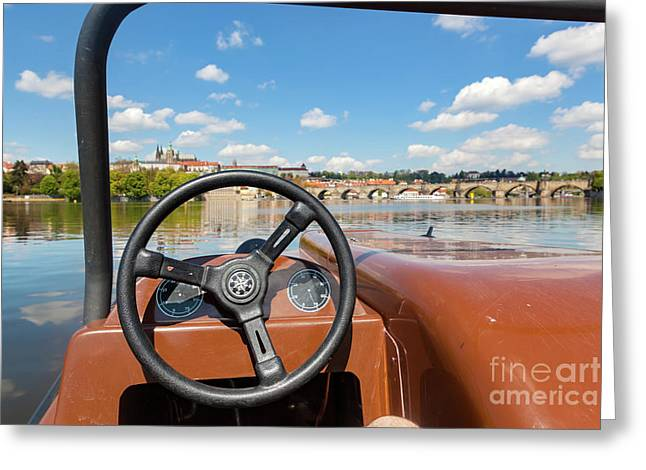 Admiring Prague From Paddle Boat On Vltava River In Prague, Czech Republic. Popular Tourist Attraction Greeting Card by Michal Bednarek