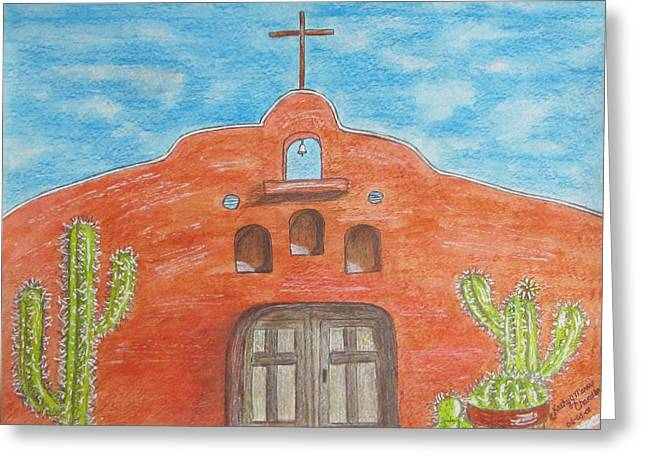 Greeting Card featuring the painting Adobe Church And Cactus by Kathy Marrs Chandler
