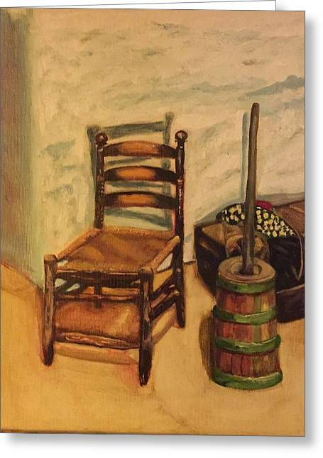 Greeting Card Featuring The Painting Adobe Furnishings By Mila Zarco