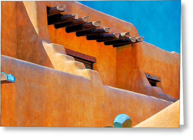 Adobe Levels, Santa Fe, New Mexico Greeting Card