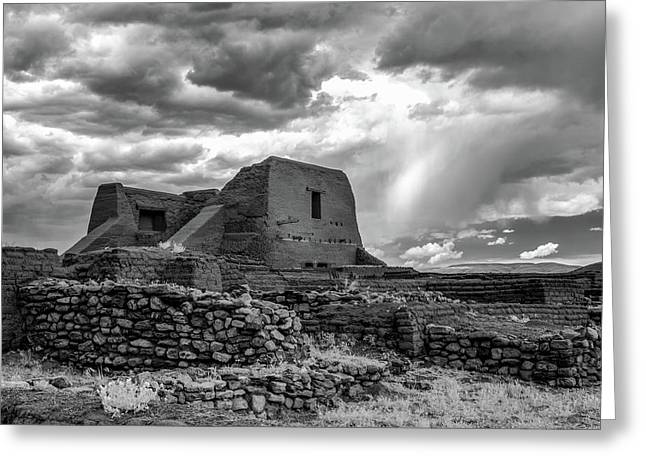 Greeting Card featuring the photograph Adobe, Stones, And Rain by James Barber
