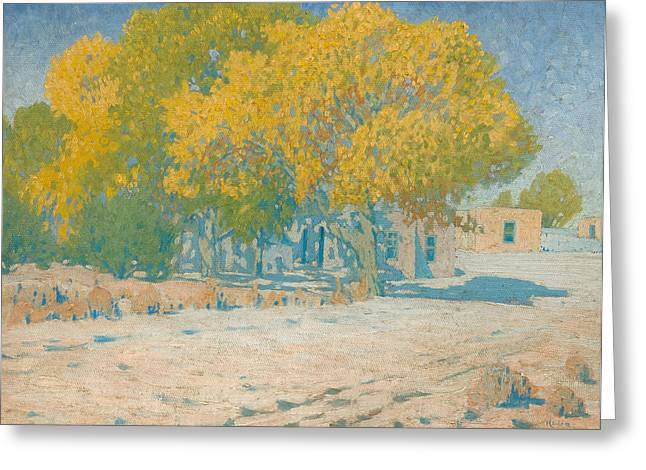 Adobes And Cottonwoods Greeting Card