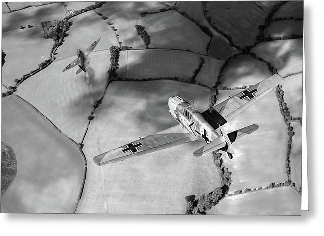 Adolf Galland Attacking Spitfire Bw Version Greeting Card