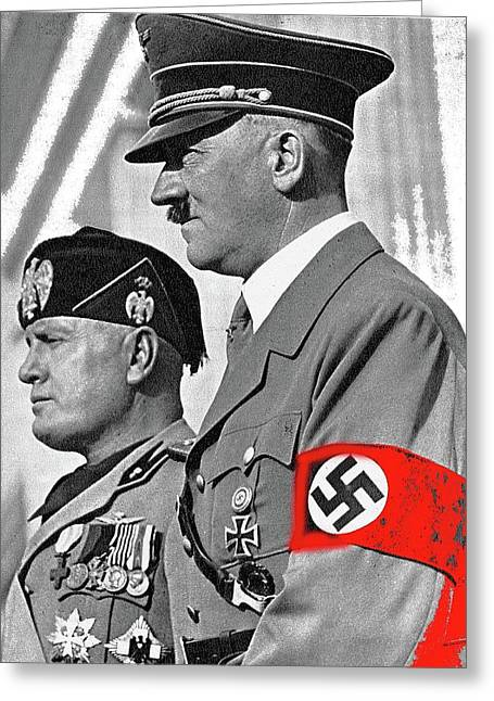Adolf Hitler And Fellow Fascist Dictator Benito Mussolini October 26 1936 Number Three Color Added  Greeting Card