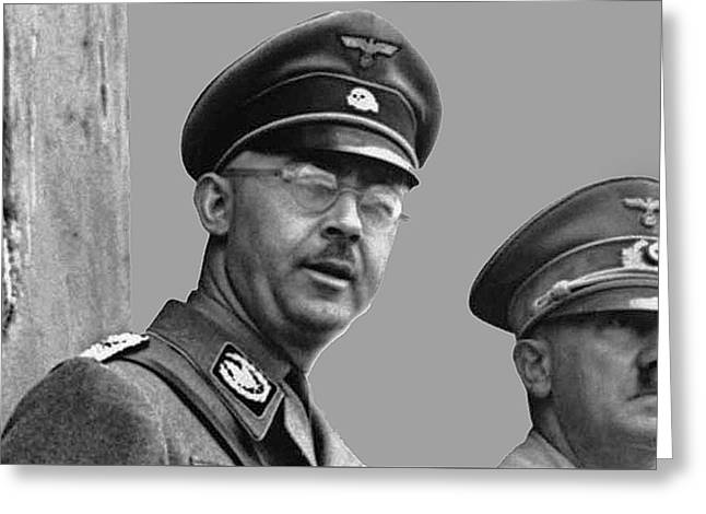 Adolf Hitler And Gestapo Head Heinrich Himmler Watching Parade Of Nazi Stormtroopers 1940-2015 Greeting Card by David Lee Guss