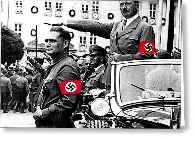 Adolf Hitler Giving The Nazi Salute From A Mercedes #3 C. 1934-2015 Greeting Card