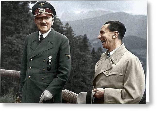 Adolf Hitler Joseph Goebbels Berghof Retreat  Number 2 Agfacolor Heinrich Hoffman Photo Circa 1942 Greeting Card