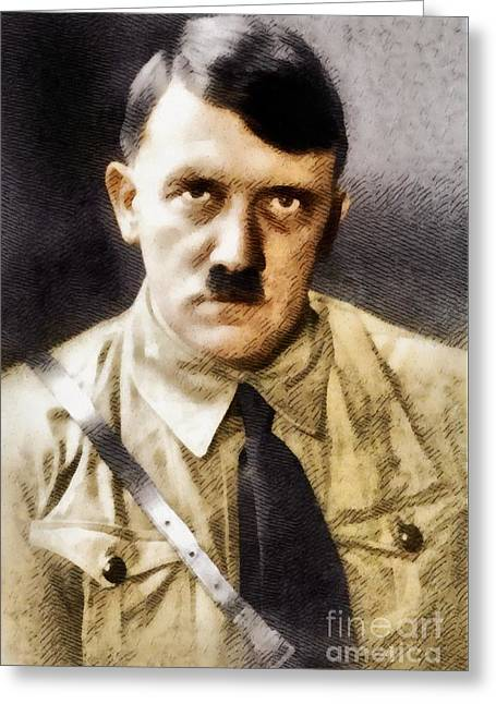 Adolf Hitler, Leader Of The Nazi Party, Wwii. History Portraits Greeting Card by John Springfield
