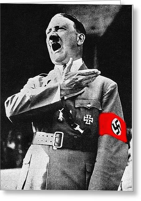 Adolf Hitler Ranting 1  Greeting Card by David Lee Guss