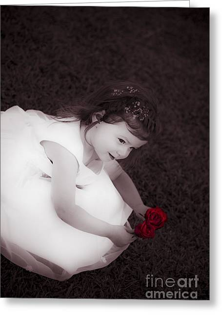 Adorable Little Flower Girl Greeting Card by Jorgo Photography - Wall Art Gallery