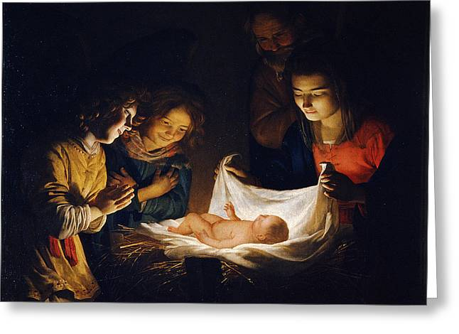Adoration Of The Child Greeting Card
