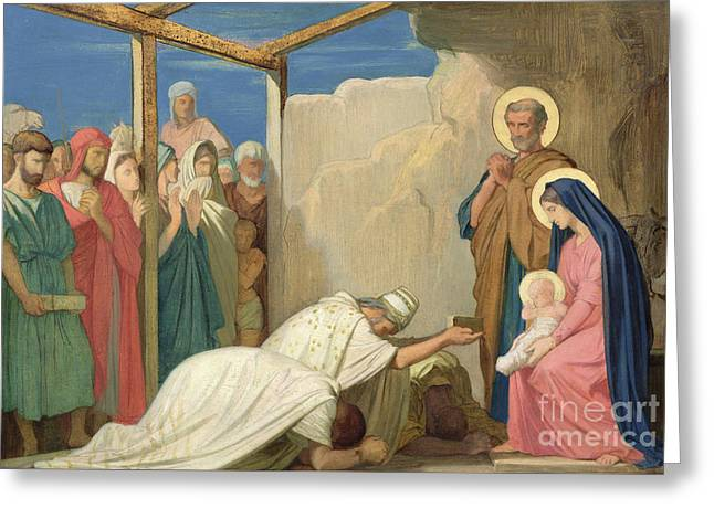 Adoration Of The Magi, 1857  Greeting Card by Hippolyte Flandrin