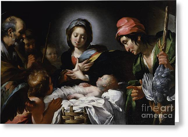 Adoration Of The Shepherds Greeting Card by Bernardo Strozzi
