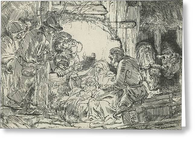 Adoration Of The Shepherds, With Lamp Greeting Card by Rembrandt