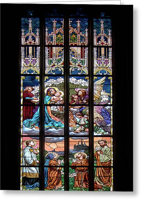 Adoration - Stained Glass Window Greeting Card by Michal Boubin