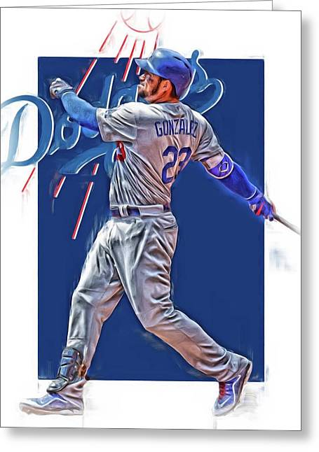Adrian Gonzalez Los Angeles Dodgers Oil Art Greeting Card by Joe Hamilton