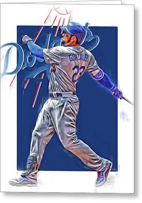 Adrian Gonzalez Los Angeles Dodgers Oil Art Greeting Card