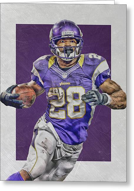 Adrian Peterson Minnesota Vikings Art 4 Greeting Card by Joe Hamilton