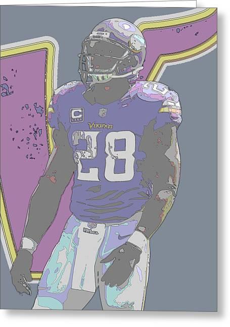 Adrian Peterson Minnesota Vikings Contour Art Greeting Card by Joe Hamilton