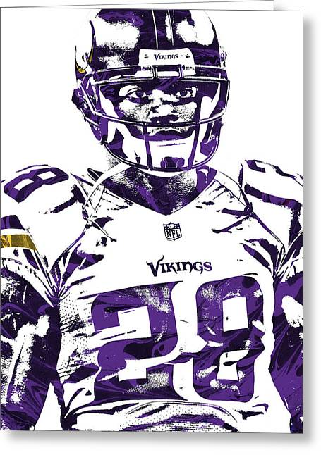 Greeting Card featuring the mixed media Adrian Peterson Minnesota Vikings Pixel Art 2 by Joe Hamilton