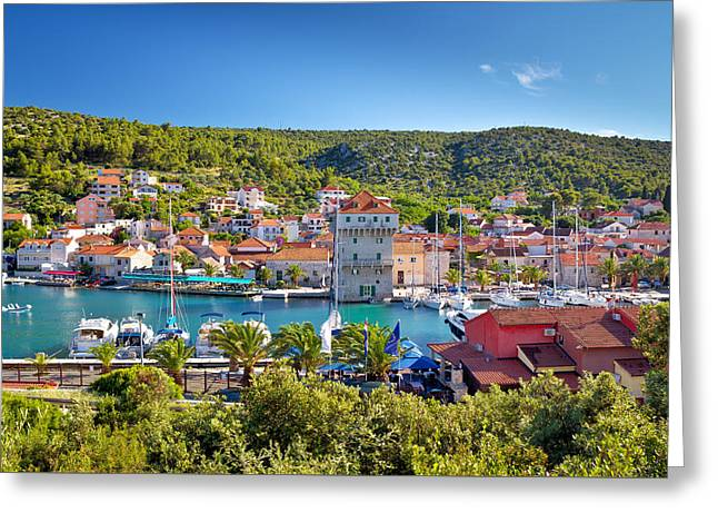 Adriatic Village Of Marina Near Trogir Greeting Card