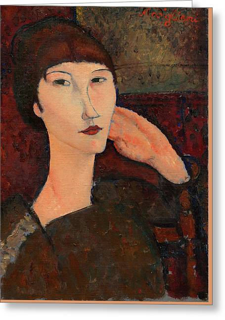 Adrienne Woman With Bangs Amedeo Modigliani 1916 Greeting Card by Movie Poster Prints