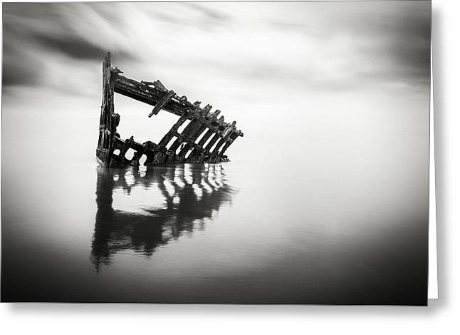 Adrift At Sea In Black And White Greeting Card