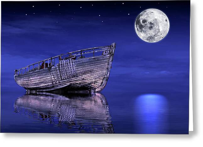Greeting Card featuring the photograph Adrift In The Moonlight - Old Fishing Boat by Gill Billington