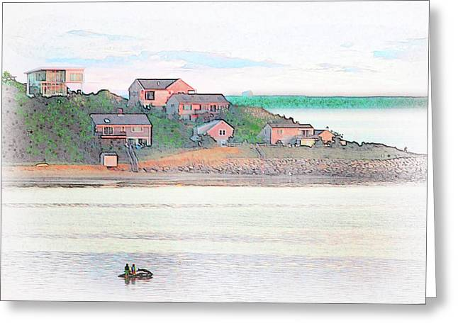 Adrift On The Bay At Sunset Greeting Card