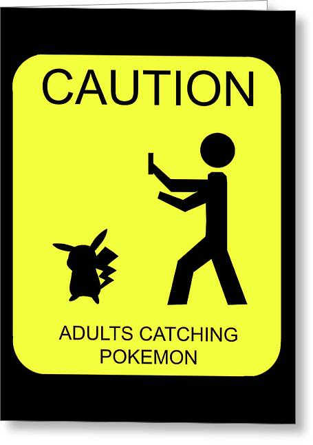 Greeting Card featuring the digital art Adults Catching Pokemon 1 by Shane Bechler