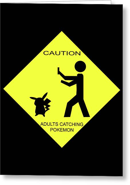 Greeting Card featuring the digital art Adults Catching Pokemon 2 by Shane Bechler