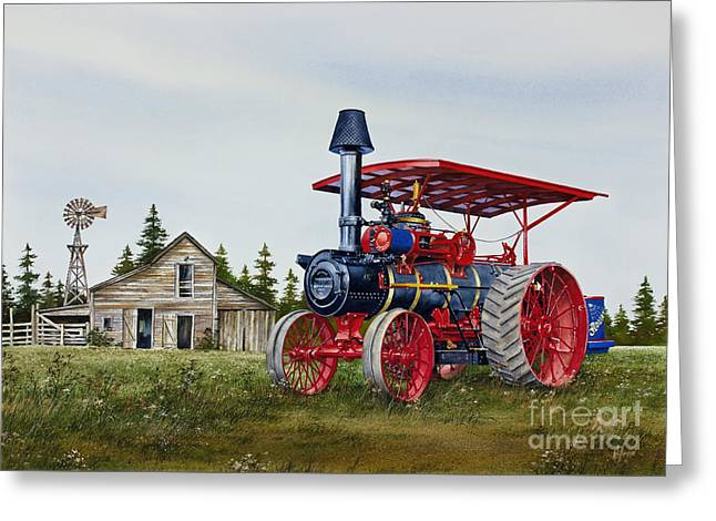 Greeting Card featuring the painting Advance Rumely Steam Traction Engine by James Williamson