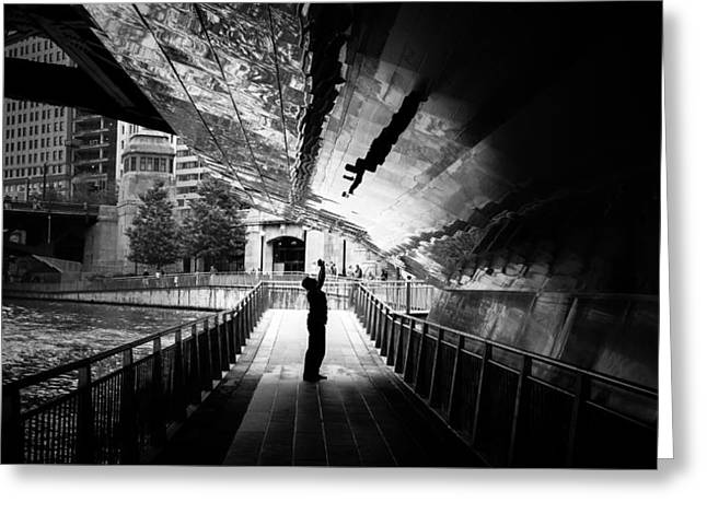 Advanced Selfie - Chicago, United States - Black And White Street Photography Greeting Card