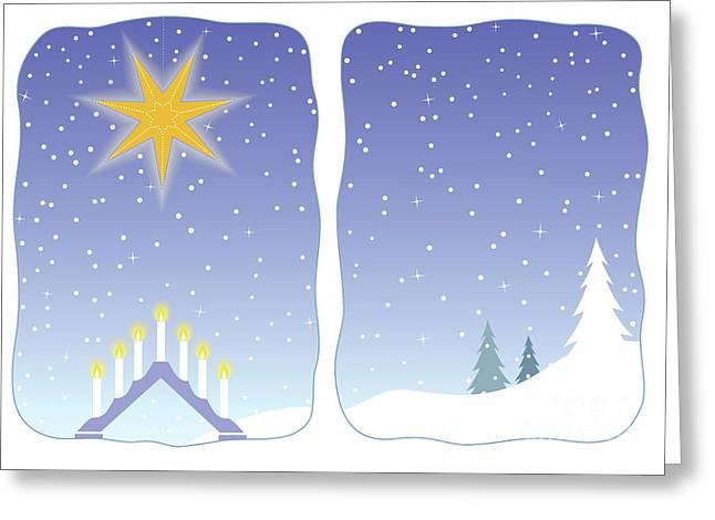 Advent Star Decorating A Snowy Window Greeting Card by GoodMood Art
