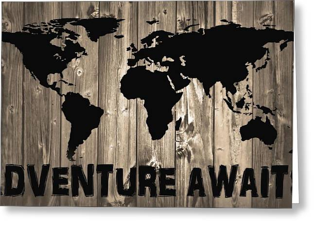 Adventure Awaits Graphic Barn Door Greeting Card