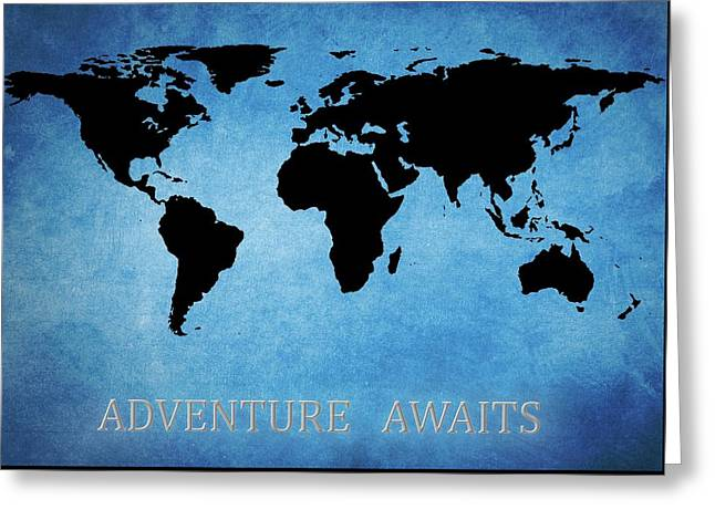 Adventure Awaits World Map Greeting Card