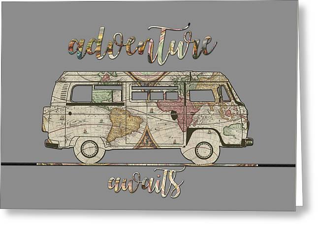 Adventure Awaits World Map Design 3 Greeting Card